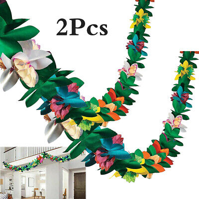 3M Hawaiian Tropical Paper Flower Garland Banner Summer Beach Luau Party Decor • 3.99£