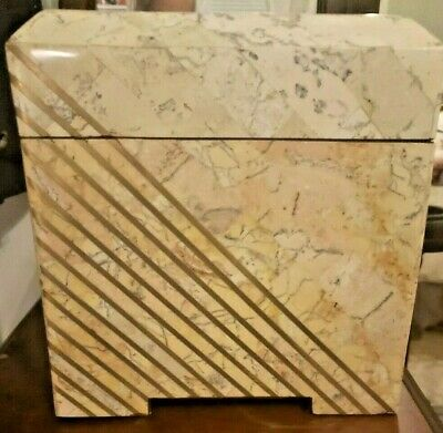 $299.99 • Buy Large Maitland Smith Marble Stone Box With Inlaid Brass