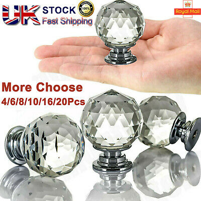 Clear Crystal Diamond Glass Knobs Cupboard Drawer Furniture Handle Cabinet UK • 5.99£