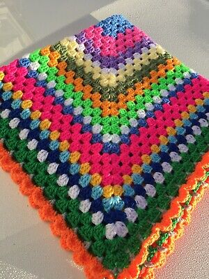 New Rainbow Baby Crochet Blanket 31x 31 Inch For Pram Buggy Moses Basket Swaddle • 4.50£