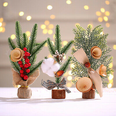 Mini Table Top Christmas Tree Decoration Xmas  Ornament-Option With Baubles 25cm • 8.35£