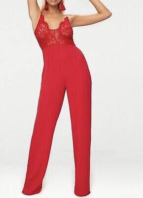 Prettylittlething. Red Lace, Wide Leg Jumpsuit - Size 12. Bnwt!! • 9£