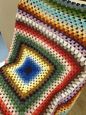 Rainbow Crochet Small Blanket New • 9£