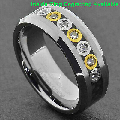$14.44 • Buy Tungsten 8mm Band Carbon Fiber Bubble Link Round CZ Man's Wedding Band