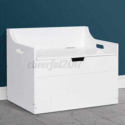 Toy Box In White / Blue Large Storage Unit Childrens Kids Chest Boxes Wooden Uk • 45.79£
