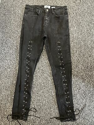 New Look Jenna Jeans Black Lace Up Size 12 Skinny Ankle Grazer Women's Ladies • 1.20£