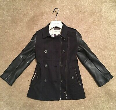Child's Burberry Trench Jacket Part Calf Leather Size 4 Years / 102 Cms - VGUC++ • 115£