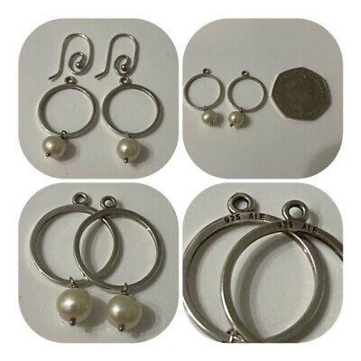 Pandora Hoops & White Pearl Pendant Earrings With Hooks Both Discontinued  • 55£