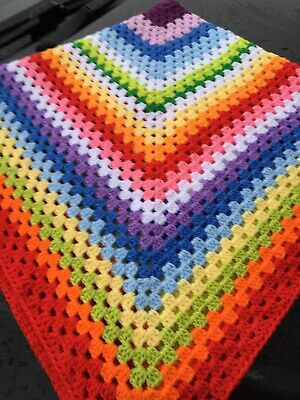 New Large Granny Square Crochet Rainbow Blanket For Bed Lap Baby 44x44 Inch Cot • 15£