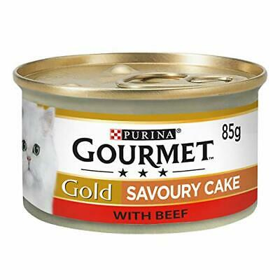 Gold Wet Cat Food Savoury Cake Beef Can Adult, 85 G - Pack Of 12 - Fast Delivery • 6.94£