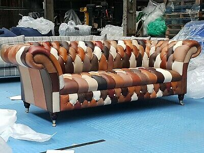 £1550 • Buy Patchwork Chesterfield Sofa Leather NEW (3 Seater) (£2895 RRP)