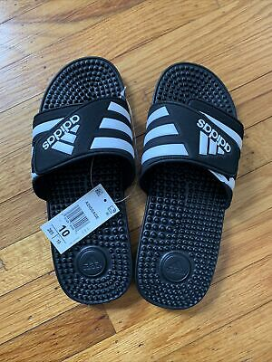 AU16.44 • Buy Adidas Adissage Slides Black And White New Open Box Sz 10