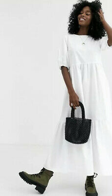 AU10 • Buy ASOS Poplin White Maxi Dress Size M
