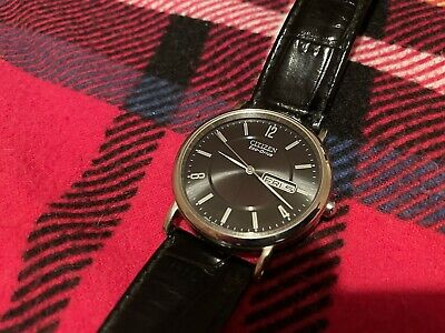 Men's Eco-Drive Watch With Black Dial And Black Leather Strap BM8240-03E • 55£
