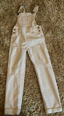 Girls M&S White Pocket Denim Dungarees Age 9-10 Years Immac Con • 3.50£