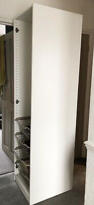 IKEA White Wardrobe With Clothes Rail And Four Metal Drawers - Great Condition • 55£