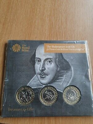 2016 William Shakespeare Bunc £2 Two Pound Three Coin Set Royal Mint Pack Sealed • 33.64£