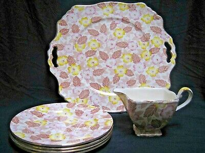 $ CDN39 • Buy Vtg Royal Winton Grimwades Clyde Chintz Dessert Set Serving Plates Bonus Creamer