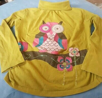 Girls Polo Neck Owl Sequin Jumper By BW Kids Size XXS (Age 4) • 2.99£