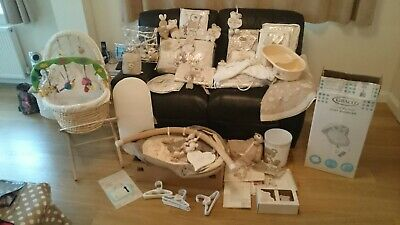 Nursery Room Baby Bundle I Love My Bear Bedding Moses Basket Bouncer • 70£