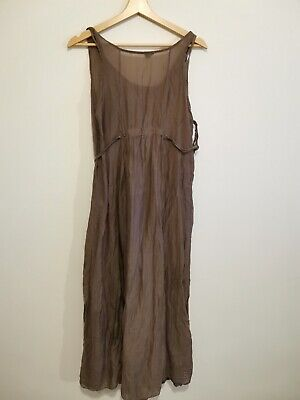 Phase Eight Taupe Brown Layered Maxi Dress With Lace Hem Size M • 10£