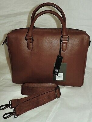 NEW The Eighth DESIGNER 2-Handle Briefcase/Laptop Bag - TAN LEATHER - RRP £140 • 59.99£