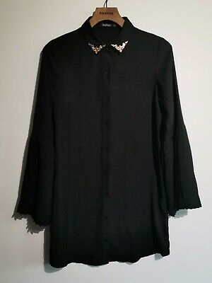 Ladies Black Boohoo Shirt Dress Button Up UK 8 Gold Office Business Flare Sleeve • 0.99£
