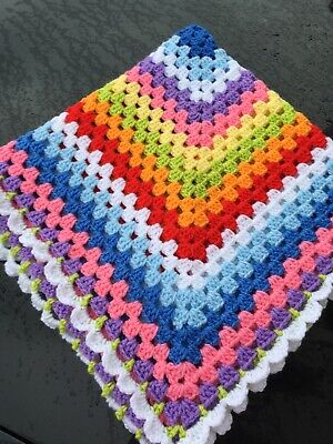 New Rainbow Crochet Baby Blanket Granny Square 30x30 Inches Lap Cot Buggy Pram • 5.50£