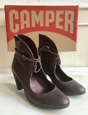 £38 • Buy CAMPER Brown Leather Steampunk Victorian Ankle Boot Laces Heel Shoes 36 Size 3