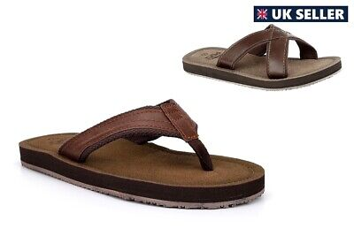 Mens Summer Sandals Faux Leather Crossover Mules Toe Post Flip Flops Brown • 11.78£