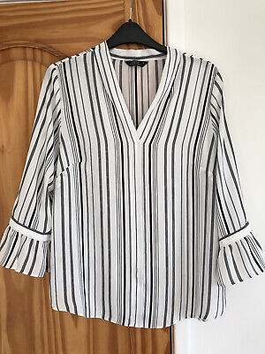 Matalan/papaya Ladies White/black Stripe Top With Bell Shape Cuff Size 12 • 1.99£