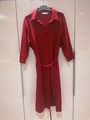 Lovely Ladies Velour Red Button Up Shirt Dress 3/4 Sleeves • 2.50£