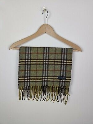 Authentic Burberry Scarf Nova Check Lambswool Green • 0.99£