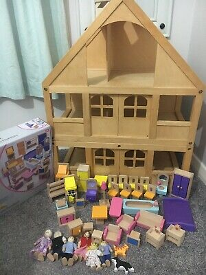 ELC / Plan Toys  My First Doll's House  (Large Wooden House + Many Accessories)! • 30£