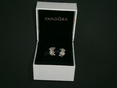 New Pair Of Pandora Genuine Silver Charms Oval Cubic Zirconia 79311CZ Boxed • 45£