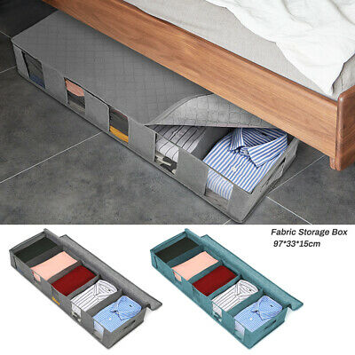 5-Compartment Under Bed Storage Large Bag Box. Organizer Shoes Clothes Capacity • 9.42£