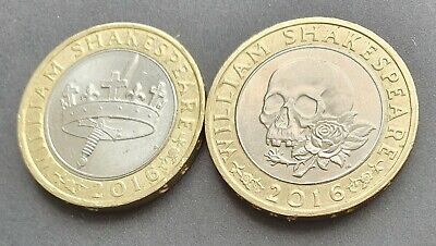 2016 Shakespeare £2 Pair: A HISTORY Of TRAGEDIES . . . Great Coins ! • 3.99£