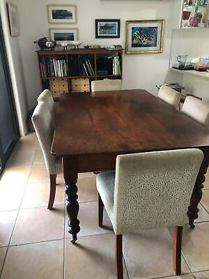 AU350 • Buy Wonderful Family Size Antique Silky Oak Dining Table With Turned Legs