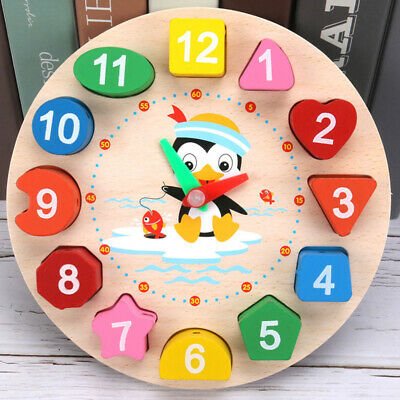 £4.92 • Buy Wooden Clock Puzzle Sorting Toy For Toddler Baby Kids Educational Toys Creative