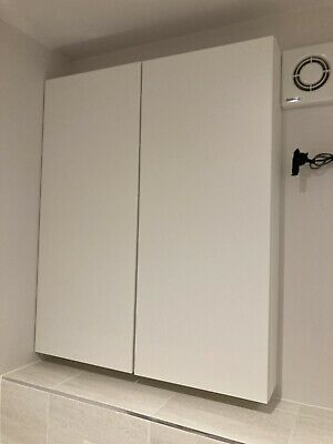 2 X Ikea GODMORGON Wall Cabinet With Door, High-gloss White40x14x96 Cm Each • 1£