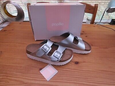 Ladies Papillio (Birkenstock) 'Arizona' Shoes In Silver UK Size 3.5 US L5 EU 36 • 27£