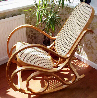 £99.98 • Buy New Bentwood Thonet Rocking Chair Rattan Seat Birch Living Bed Room Conservatory