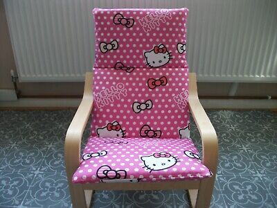 Ikea  Kids  Poang Chair Complete Replacement Pad/cover Washable Hello Kitty • 16£