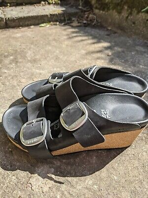 Birkenstock Papillio Black Nora Big Buckle Oiled Leather Wedge Sandals Size 5... • 110£