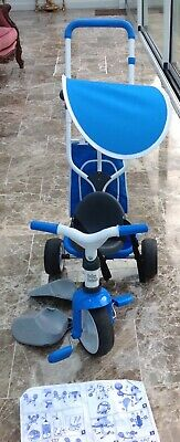 Smoby Blue 2-in-1 Push Along Trike With Parent Handle And Kids Forst Tricycle - • 36£