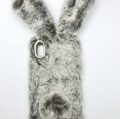 Furry Bunny Phone Case Iphone X/xs Bunny Ears And Tail With Bling On Back • 4.17£
