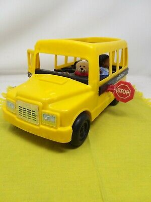 Vintage Fisher Price 2372 Big Yellow School Bus Toy 1991 With Dog & One Person • 15£