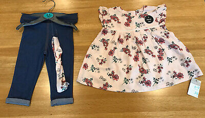 6-9 Months Girls Primark Floral Top And Blue Leggings • 2.50£