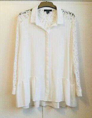 BNWOT Atmosphere Ivory Dropped Waist Lace Inset Blouse Top - Size 18 • 2.50£