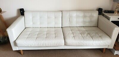 IKEA Landskrona 3 Seater Sofa In White Leather, Three Seater • 450£